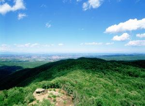 Puig d'Arques. Cim més alt de les Gavarres. cim verd i vista de la plana des de dalt
