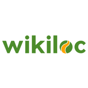 logotip wikiloc. paraula wikiloc escrita en minúscula i en verd i la o té una onada groga en vertical